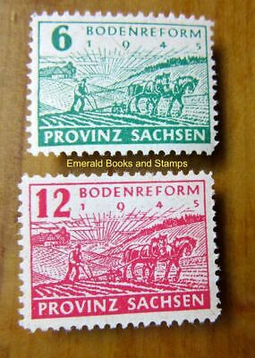 EBS Germany 1945 Soviet Zone SBZ Saxony Land Reform PERF Michel 85A-86A MNH**