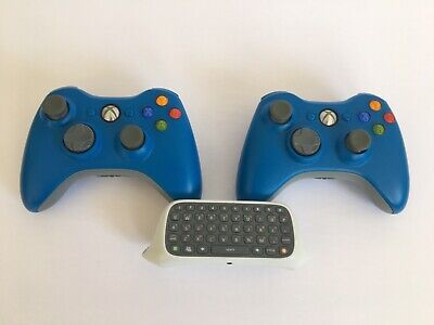 Lot Official Microsoft Xbox 360 Blue Wireless Controllers with Keypad Chatpad