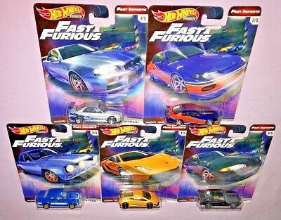 2019 Hot Wheels Fast & Furious Complete Set Of 5 Fast Imports **new Release**