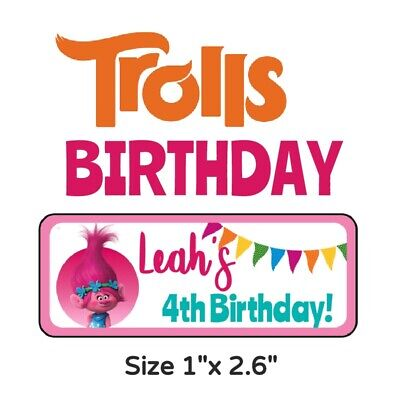 50 Trolls Birthday Party Stickers Labels For Goodie Bags & Favors (B1-1)