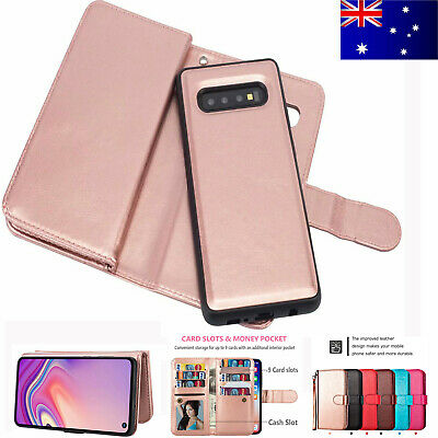 For Samsung Galaxy S10 S10+ Plus S10e Magnetic Detachable Leather Wallet Case AU