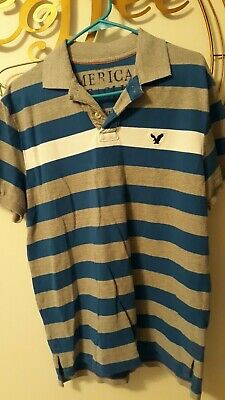 2b00512b507 American Eagle Outfitters polo shirt blue gray striped men's size medium