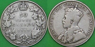 1919 Canada Silver Half Dollar Graded as Very Good