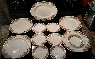 LOT OF 12 PCs. ENGLISH CHINA Antique ALFRED MEAKIN Orange Blue Floral Scrolls