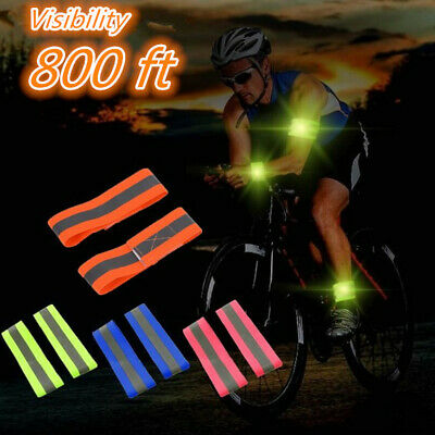 2pcs High Visibility Safety Reflective Wrist Arm Band Belt for Outdoor Running