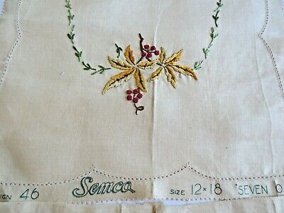 Semco Design 46 Embroidery Table Centre & 2 Dollies Seven Oaks Completed