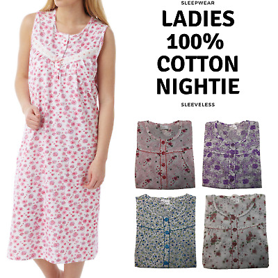 Women's 100% Cotton Sleeveless Nightie Gown Night Shirt Pyjamas PJ Pajamas Sleep