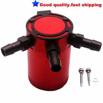 Red Universal Racing Baffled 3-Port Oil Catch Can / Tank / Air-Oil Separator