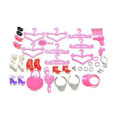 45Pcs/Set New Doll Accessories Shoes Bag Hanger Comb Bracelet For  Doll Hy