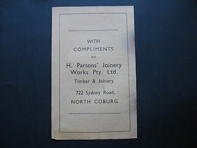 H Parsons Joinery Works ,722 Sydney Rd North Coburg