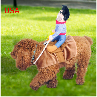 Fake Rider Cowboy Pets Dog Costumes Puppy Outdoor Riding Vest Funny Clothing