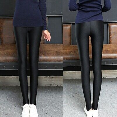 362643f90bc851 Womens Wet Look Black Leggings Shiny Faux Leather Stretchy Tight Pant High  Waist