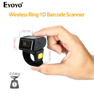 Handheld Mini Bluetooth Ring Finger Barcode Scanner Reader For Android & iOS AU