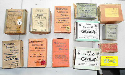 13 antique french boxes empty : rimfire pinfire caps tin container shotshell