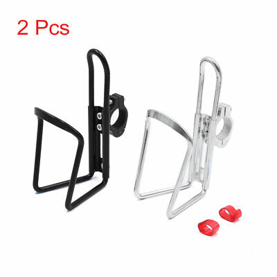 2Pcs Black Silver Tone Bike Bicycle Drink Water Bottle Cup Holder Mount Cage