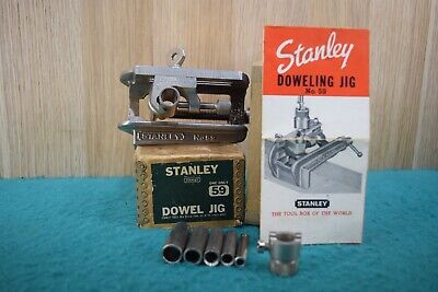 Vintage Boxed Stanley USA Dowelling Jig # 59 Woodworking Old Tools