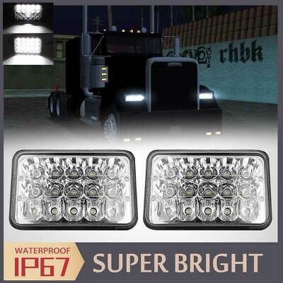 "DOT 2PCS 4x6"" INCH LED LIGHT BULB CRYSTAL CLEAR SEALED BEAM HEADLAMP HEADLIGHT"