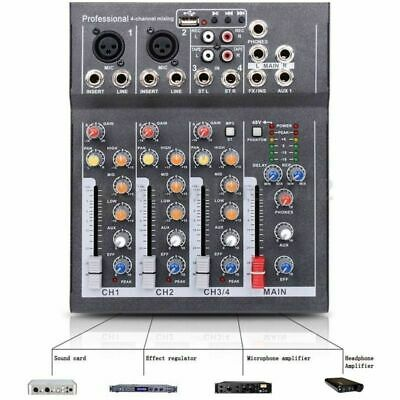 4 Channel Professional Powered USB Mixer Amplifier Amp Mixing Console