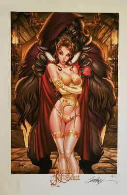 J Scott Campbell Encore Edition Beauty Beast Belle Bete Art Print Fairytale SDCC
