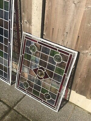 Antique Reclaimed Leaded Stained Glass Window