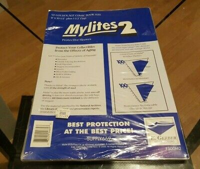 Pack of 50 Mylites 2 Mil Mylar Golden Age Comic Book Bags sleeves E.Gerber