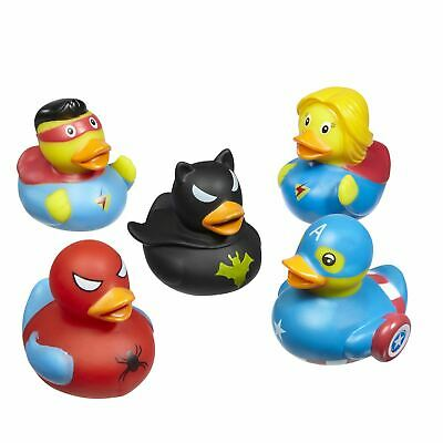 Quackers Super Hero Fun Novelty Rubber Ducks For Bathroom & Water  5 Pack