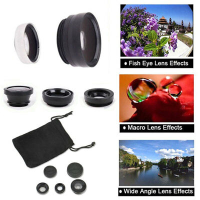 Universal 3 In 1 Fish Eye Wide Angle Macro Camera Lens telefon For Phone