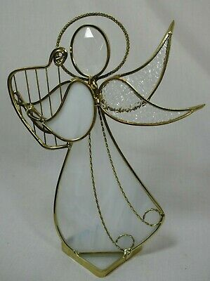 Stained Glass Angel Sun Catcher Free Standing Hand Crafted Decor Gold White