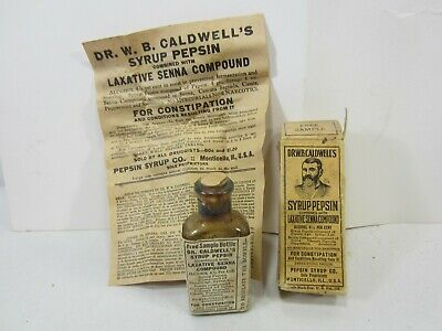 Antique Dr. W.B. Caldwells Syrup Pepsin Sample Bottle w/Box & Papers