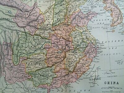 China Original Antique Encyclopaedia Map Vintage Old Map Korea