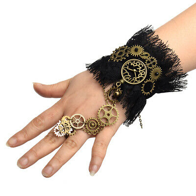 Retro Victorian Steampunk Watch Gear Chain Bracelet With Ring Wedding Wristband