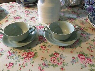 2x SPODE COPELAND FLEMISH GREEN SOUP CUP BONE CHINA SOUP CUP TWIN HANDLED GREEN