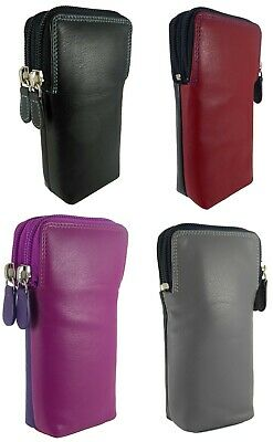 Double Glasses Spectacle Case Multi Coloured Real Leather  4 Colours