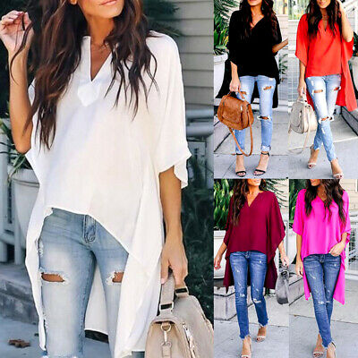 Women Short Sleeve Blouses Ladies Summer Casual V Neck Loose Tops T Shirts UK