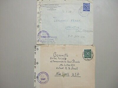 Two Germany CENSORED covers with single NUMERAL stamp
