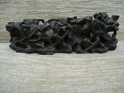 Finely Carved Antique Wooden Stand Prunus Bamboo Rock Must See