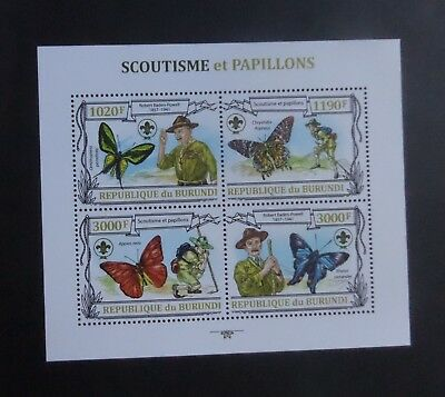 Burundi 2011 scout Scouting butterfly butterfly sheetlet MNH UM unmounted mint