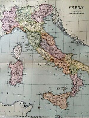 Italy Original Antique Encyclopaedia Map Vintage Old Map Double sided