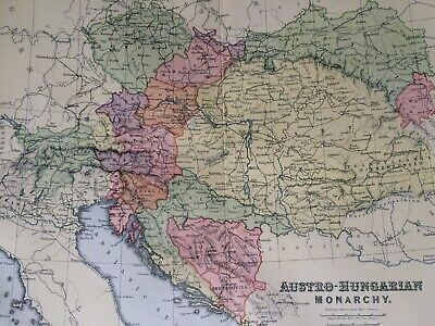Austro-Hungarian Monarchy Original Antique Encyclopaedia Map Vintage Old Empire