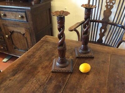art nouveau Arts And Crafts Oak And Copper Candlesticks Signed E Cope