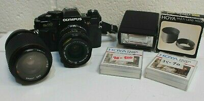 Olympus OM40 35mm Film Camera with Olympus 35-70mm + Tokina 70-120mm + Accs -254