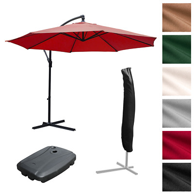 3.5M Large Cantilever Hanging Garden Parasol Sun Shade Patio Umbrella For Dining
