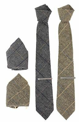 Mens Tie Cuff Links Hanky Classic Tweed Herringbone Check Grey Navy Vintage
