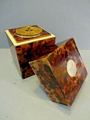Antique Chinese Ceremonial Faux Tortoiseshell Tea Caddy.