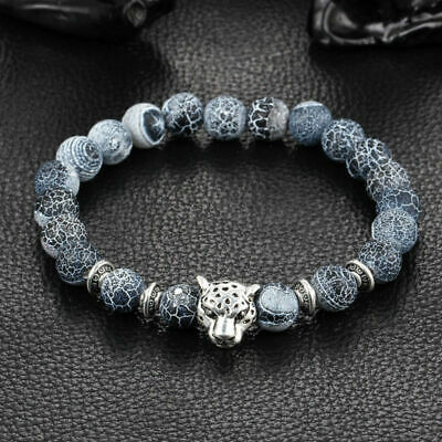 Antique Silver Plated Buddha Leopard head Bracelet Lava Natural Stone Beaded ...