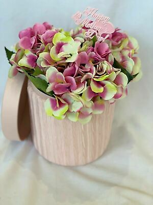 Hat Box Flowers Artificial Silk Gift Box Bouquet Hydrangea Hat Box Get Well