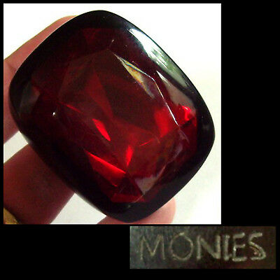 XL Vintage Gerda Lynggaard / Monies - Denmark - Ring_Holz_wood / big red Strass