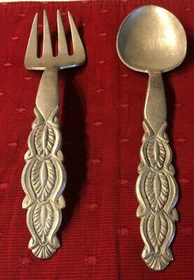 David Anderson Pewter Salad Fork And Spoon Set