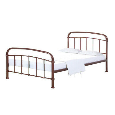 INDUSTRIAL LOFT PIPE STYLE COPPER METAL POLISHED BED FRAME - DOUBLE 4ft 6