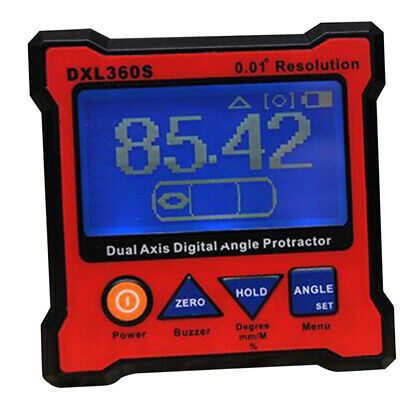 DXL360S Digital Protractor Inclinometer,Dual Axis Level Box,0.01° Resolution